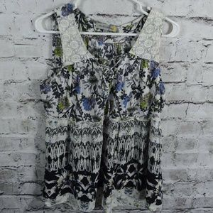 Figueroa & Flower Floral Lace Sleeveless Top